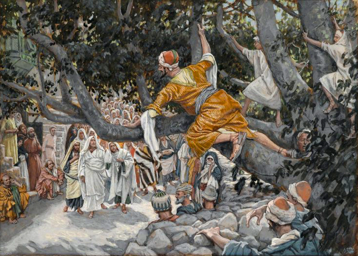 Brooklyn Museum Zacchaeus in the Sycamore Awaiting the Passage of Jesus Zache sur le sycomore attendant le passage de Jsus James Tissot