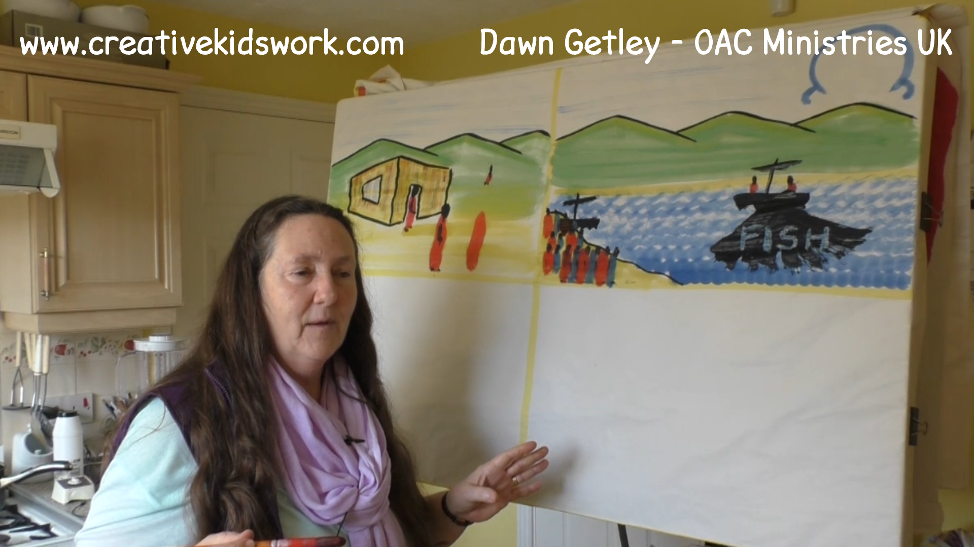 Dawn Getley demonstrates how to paint a general landscape with a house in it on a sketch board painting